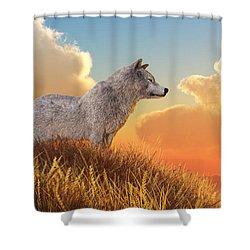 Shower Curtain featuring the digital art White Wolf by Daniel Eskridge
