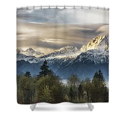 Whitehorse Sunrise, Flowing Clouds Shower Curtain