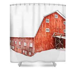 Shower Curtain featuring the painting Whiteout On The Farm Blizzard Stella by Edward Fielding