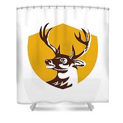 Whitetail Deer Buck Head Crest Retro Shower Curtain
