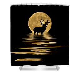 Whitetail Deer In The Moonlight Shower Curtain