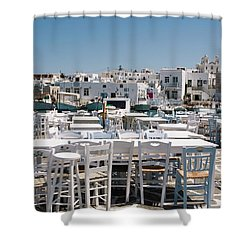 Whitewashed Naoussa Shower Curtain
