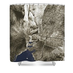 Whitewater Blu Shower Curtain by Jan W Faul