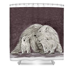 Shower Curtain featuring the painting Polar Bear Family by Jack Pumphrey