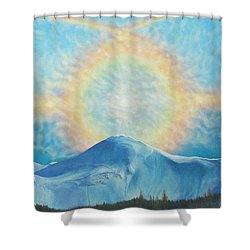 Who Makes The Clouds His Chariot Fire Rainbow Over Alberta Peak Shower Curtain
