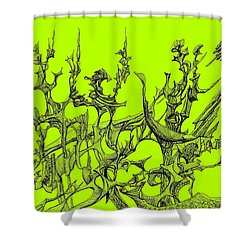 Whooshh -  Lime Background Shower Curtain