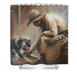 Who's Your Daddy Shower Curtain by Mia DeLode