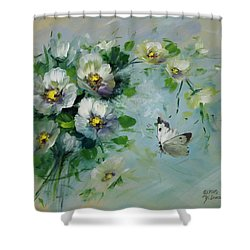 Whte Butterfly And Blossoms Shower Curtain by David Jansen