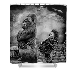 Why Did You Stop Shower Curtain by Geni Gorani