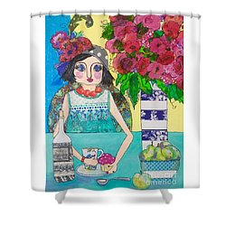Shower Curtain featuring the mixed media Why Limit Happy To A Hour by Rosemary Aubut