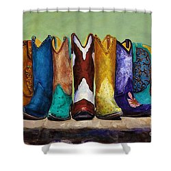 Shower Curtain featuring the painting Why Real Men Want To Be Cowboys by Frances Marino