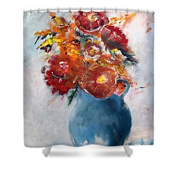 Wide-eyed Flowers In A Blue Pot Shower Curtain