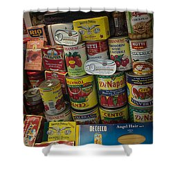 Shower Curtain featuring the photograph Wide Variety Of Italian Goods On Display In Little Italy by Jason Rosette