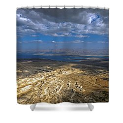 Wide View From Masada Shower Curtain by Dubi Roman