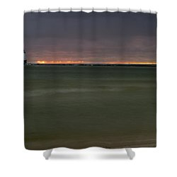 Wide View Of Lighthouse And Sunset Shower Curtain