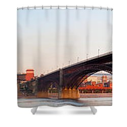 Wide View Of St Louis And Eads Bridge Shower Curtain