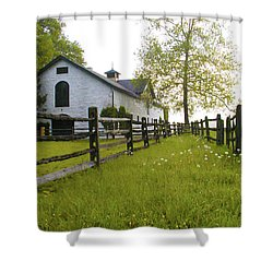 Widener Farms Horse Stable Shower Curtain by Bill Cannon