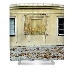 Wiener Wohnhaus Shower Curtain by Christian Slanec
