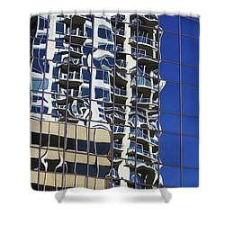 Shower Curtain featuring the photograph Wiggly Balconies by Phyllis Denton