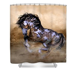 Wild And Free Horse Art Shower Curtain by Shanina Conway