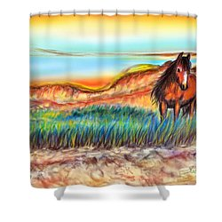 Shower Curtain featuring the painting Wild And Free Sable Island Horse by Patricia L Davidson