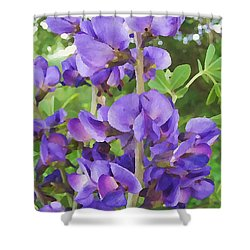 Shower Curtain featuring the digital art Wild Blue False Indigo by Shelli Fitzpatrick