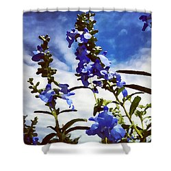 Shower Curtain featuring the digital art Wild Blue Sage  by Shelli Fitzpatrick
