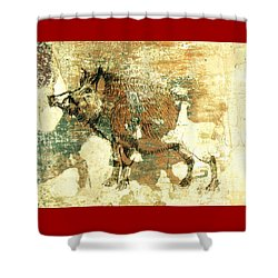 Shower Curtain featuring the drawing Wild Boar Cave Painting 1 by Larry Campbell