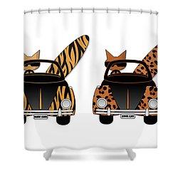 Wild Cats Go Surfing Shower Curtain