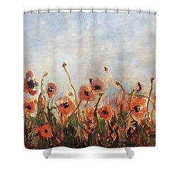 Wild Corn Poppies Underpainting Shower Curtain
