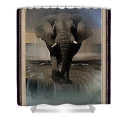 Wild Elephant Montage Shower Curtain