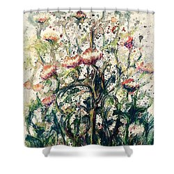 Shower Curtain featuring the painting Wild Flowers # 2 by Laila Awad Jamaleldin