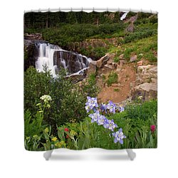 Wild Flowers And Waterfalls Shower Curtain