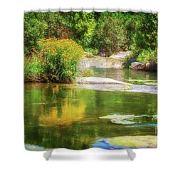 Wild Flowers On Blue River Shower Curtain