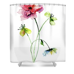 Wild Flowers Watercolor Illustration Shower Curtain