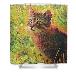Wild Garden Tabby Shower Curtain