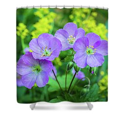 Wild Geranium Family Portrait Shower Curtain
