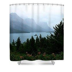 Wild Goose Island In The Rain Shower Curtain