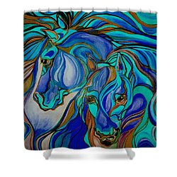 Wild  Horses In Brown And Teal Shower Curtain