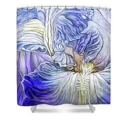 Shower Curtain featuring the mixed media Wild Iris Blue by Carol Cavalaris