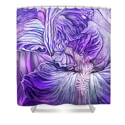 Shower Curtain featuring the mixed media Wild Iris Purple by Carol Cavalaris