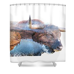 Wild Longhorn Bull And Lake Double Exposure Shower Curtain