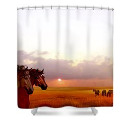 Shower Curtain featuring the painting Wild Moorland Ponies by Valerie Anne Kelly