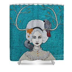 Shower Curtain featuring the mixed media Wild Orchid by Natalie Briney