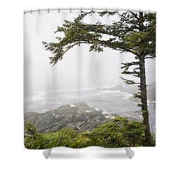 In The Fog On The Wild Pacific Trail Shower Curtain