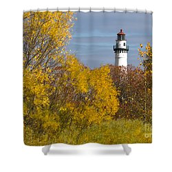 Wind Point Lighthouse In Fall Shower Curtain