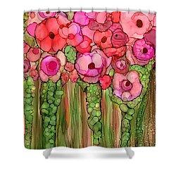 Shower Curtain featuring the mixed media Wild Poppy Garden - Pink by Carol Cavalaris