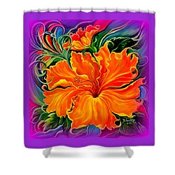 Shower Curtain featuring the painting Wild Purple Hibiscus by Yolanda Rodriguez