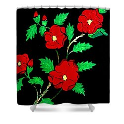 Wild Red Roses Shower Curtain
