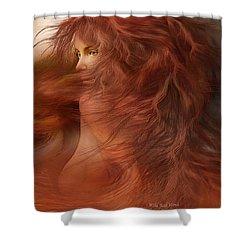 Wild Red Wind Shower Curtain by Carol Cavalaris